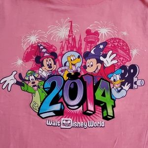 🟣Walt Disney World•2014•s/s•pink•XL•5 characters